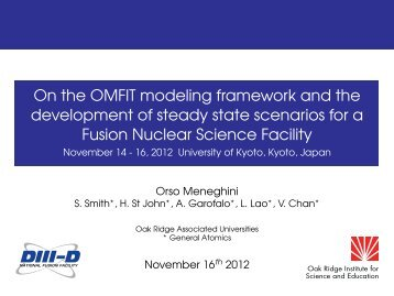 On the OMFIT modeling framework and the development of steady ...