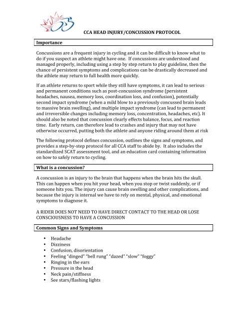 CCA HEAD INJURY/CONCUSSION PROTOCOL Importance