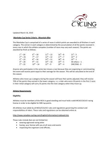 MTB Cup Point System - Manitoba Cycling Association