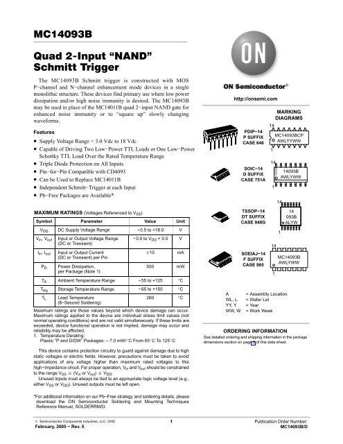 MC14093B Quad 2−Input NAND