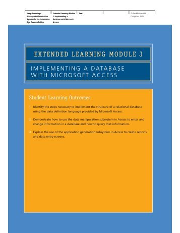 EXTENDED LEARNING MODULE J - McGraw-Hill Learning Solutions