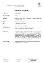 Travel Insurance - Certificate of Currency - cfmeu