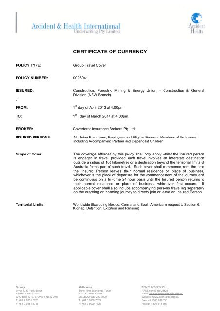 Travel Insurance Certificate Of Currency Cfmeu