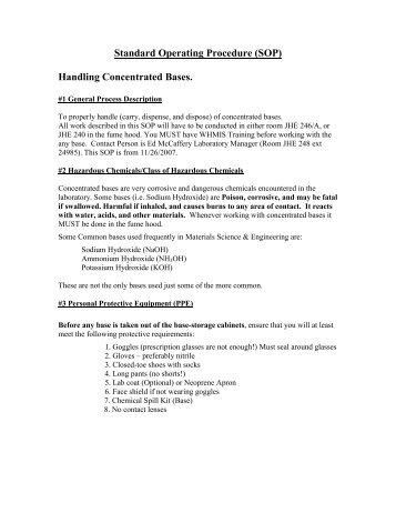 Standard Operating Procedure (SOP) - McMaster Department of ...