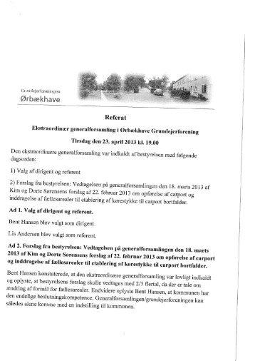 Referat ekstraordinær generalforsamling 2013 - Ørbækhave