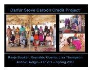 Darfur Stove Carbon Credit Project