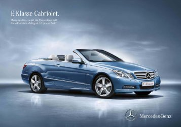 E-Klasse Cabriolet. - Preislisten