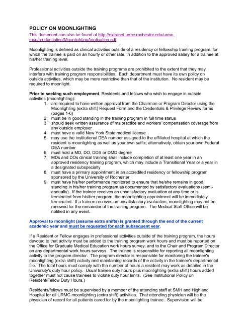 POLICY ON MOONLIGHTING - Extranet - University of Rochester