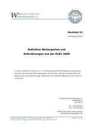 Definition Wintergarten und Einordnung in die EnEV 2009