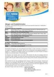 Allergen- und Produktinformation - Nestle Ernährungsstudio
