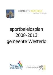 sportbeleidsplan 2008-2013 gemeente Westerlo