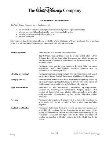 Adfærdskodeks for fabrikanter - The Walt Disney Company