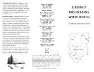 CABINET MOUNTAINS WILDERNESS - USDA Forest Service - US ...