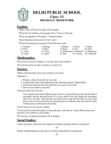 Dps vasundhara holiday homework a level food technology coursework help