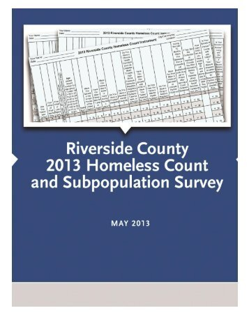 2013 County of Riverside Homeless Count and Survey
