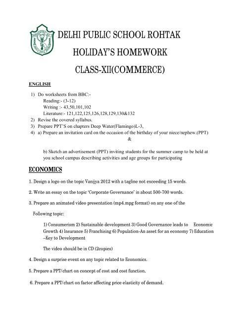 Class 12th Commerce Holidays Homework Delhi Public School