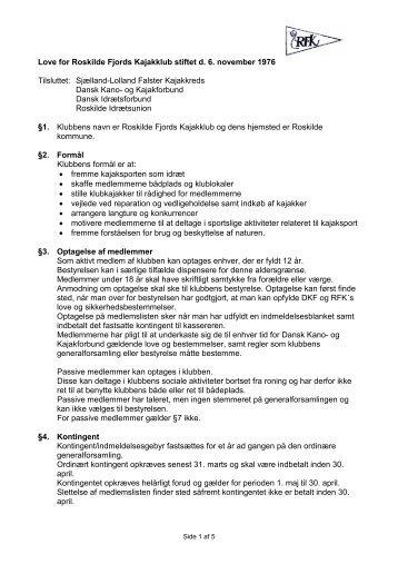 Love for Roskilde Fjords Kajakklub stiftet d. 6. november 1976 ...