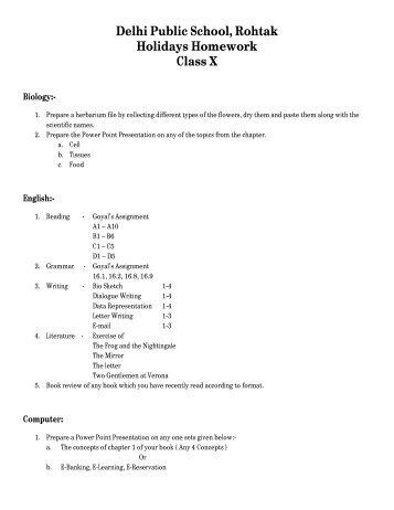 holiday homework of class 5