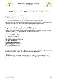 EMR-Registrierung der APM-Therapeutinnen und Therapeuten