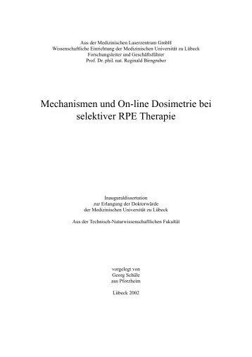 Mechanismen und On-line Dosimetrie bei selektiver RPE Therapie
