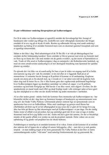 brev fra Thomas Scharff - Sydhavnstippen