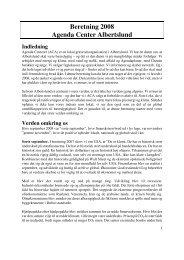 Beretning 2008 Agenda Center Albertslund Indledning