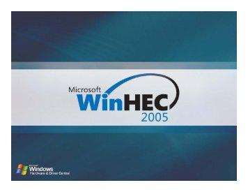 WinHEC 2005 ? Performance Analysis on Multi