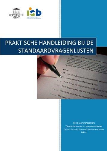 Ga naar de praktische handleiding over de standaardvragenlijsten