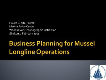 Business Planning for Mussel Longline Operations - Marine ...