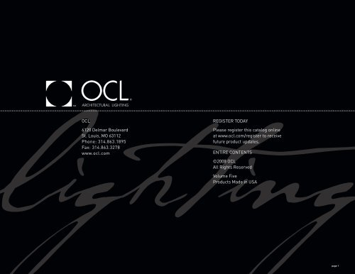 Catalog Introduction Ocl Architectural Lighting
