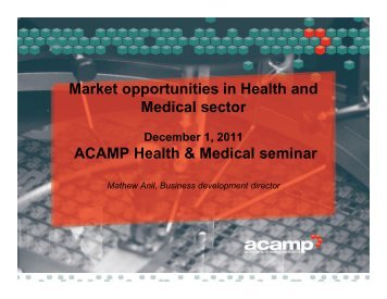 Market opportunities in Health and Medical sector ACAMP Health ...