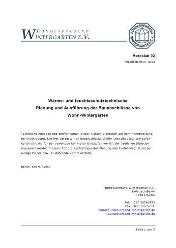 Bauanschlüsse von Wohn-Wintergärten - Bundesverband ...