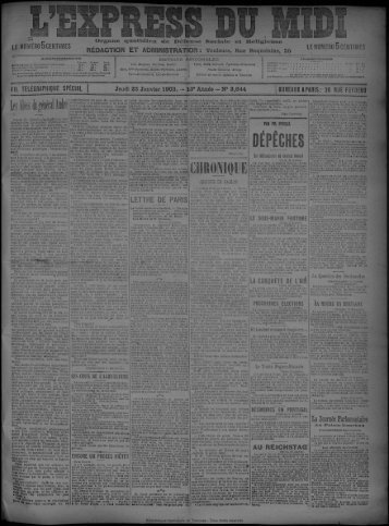 22 Janvier 1903 - Bibliothèque de Toulouse