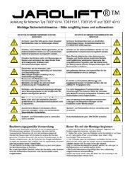 Anleitung für Motoren Typ TDEF10/14, TDEF15/17, TDEF25/17 und ...
