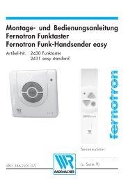 Montage- und Bedienungsanleitung Fernotron Funktaster Fernotron ...