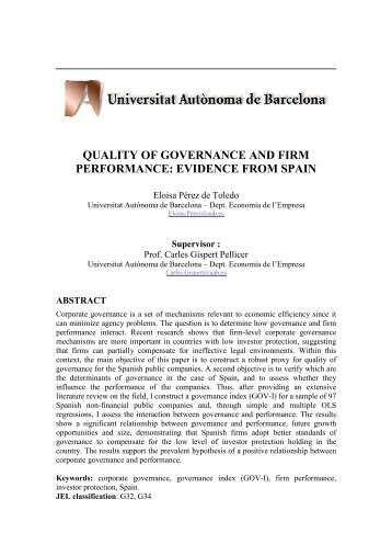 quality of governance and firm performance: evidence from spain