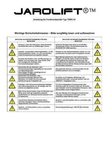 Anleitung für Funkhandsender Typ TDRC-01