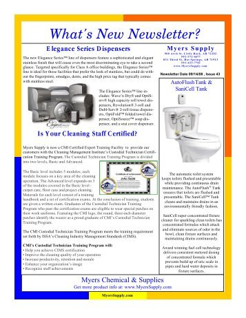 What's New Newsletter #43 - Myers Supply & Chemical