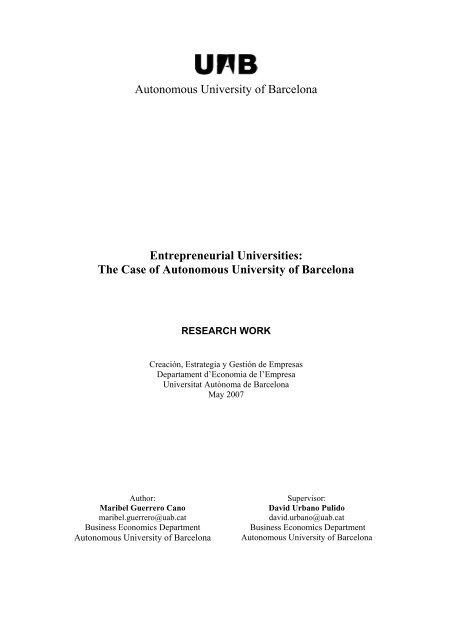 Autonomous University Of Barcelona Entrepreneurial