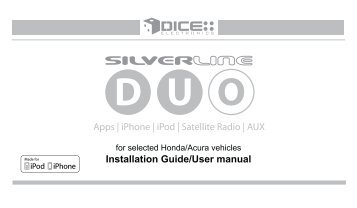 Apps | iPhone | iPod | Satellite Radio | AUX ... - DICE Electronics