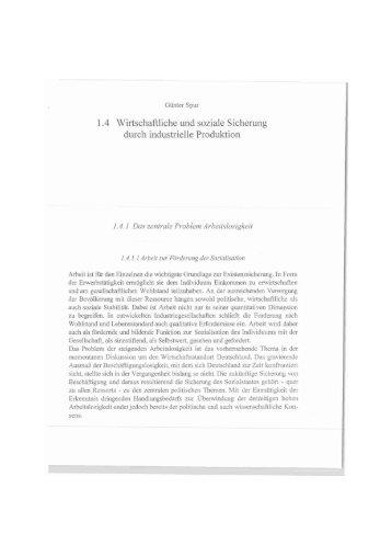 1.4 Wirtschaftliche und soziale Sicherung durch industrielle Produktion