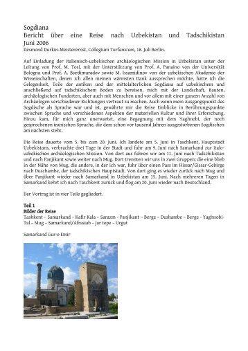 Sogdiana Bericht über eine Reise nach Uzbekistan und ...