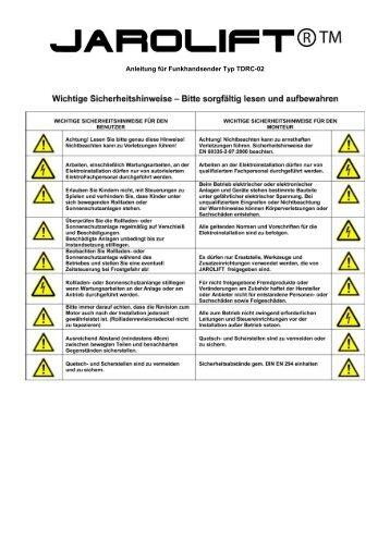 Anleitung für Funkhandsender Typ TDRC-02