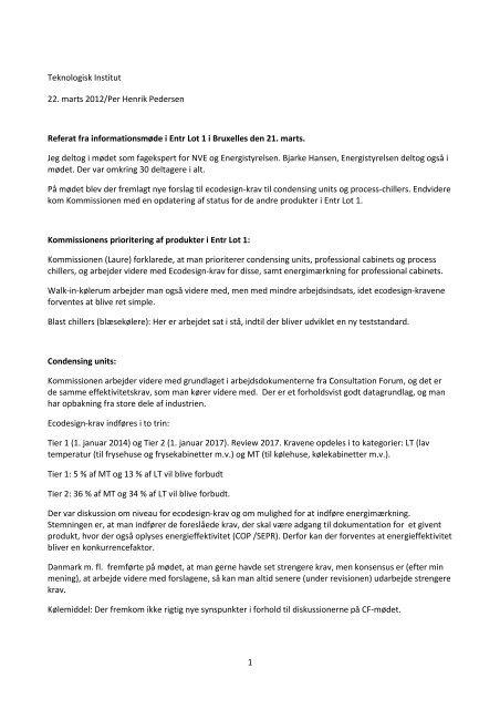 1 Teknologisk Institut 22. marts 2012/Per Henrik Pedersen ... - NVE