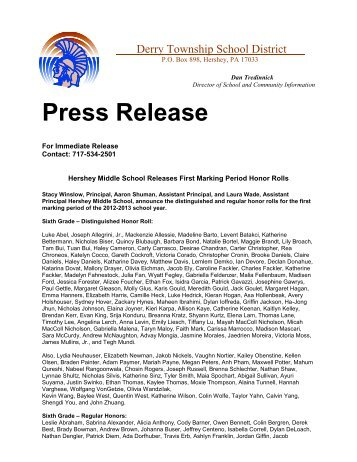 Press Release - Derry Township School District