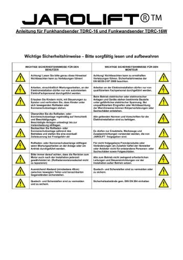 Anleitung für Funkhandsender TDRC-16 und Funkwandsender ...