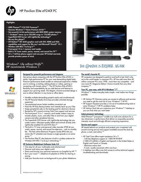 HP Pavilion Elite e9240f PC