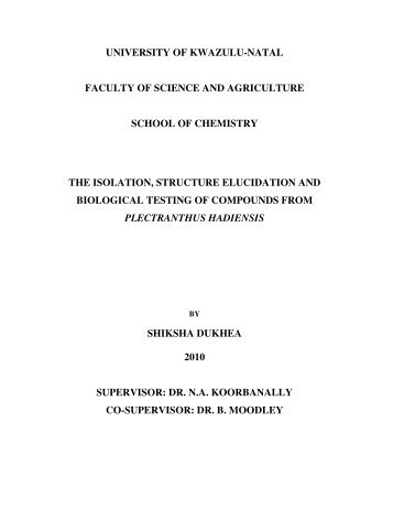 university of kwazulu-natal faculty of science and agriculture school ...