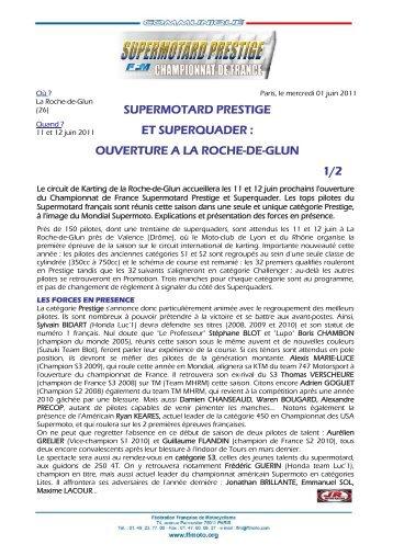 SUPERMOTARD PRESTIGE ET SUPERQUADER ... - Mototribu
