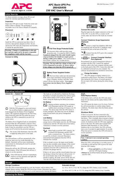 APC Back-UPS Pro 280/420/650 230 VAC User's Manual - APC Media